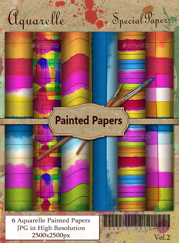 Aquarelle Painted Papers - Backgrounds Graphics