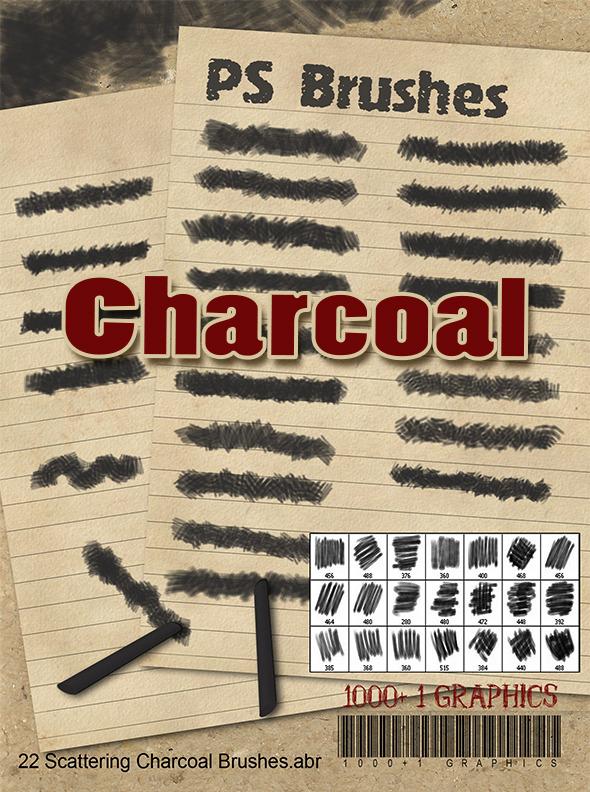 22 Charcoal PS Brushes - Brushes Photoshop