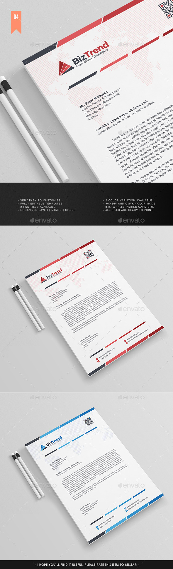 A4 - Business Letterhead V.004 - Stationery Print Templates