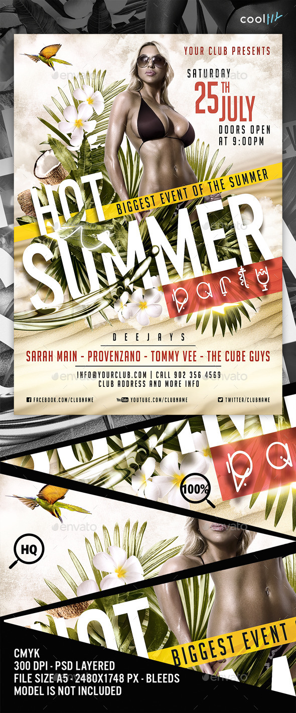 Hot Summer Party Flyer Template - Clubs & Parties Events
