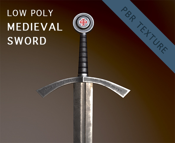 Low Poly Medieval Sword - 3DOcean Item for Sale