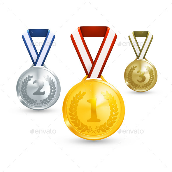 Gold, Silver and Bronze Medals - Man-made Objects Objects