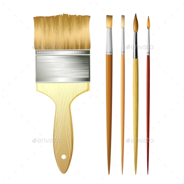 Paint Brushes Isolated On White. Vector - Backgrounds Decorative