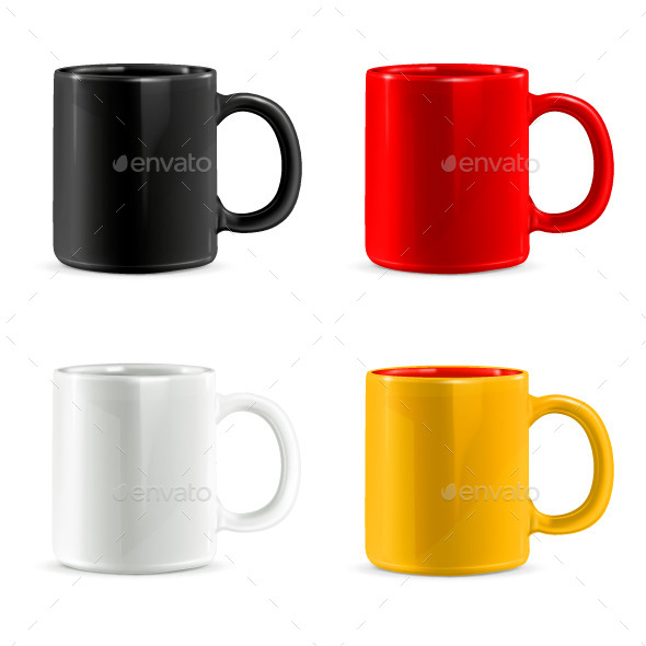 Multi Colored Mugs for Coffee or Tea - Man-made Objects Objects