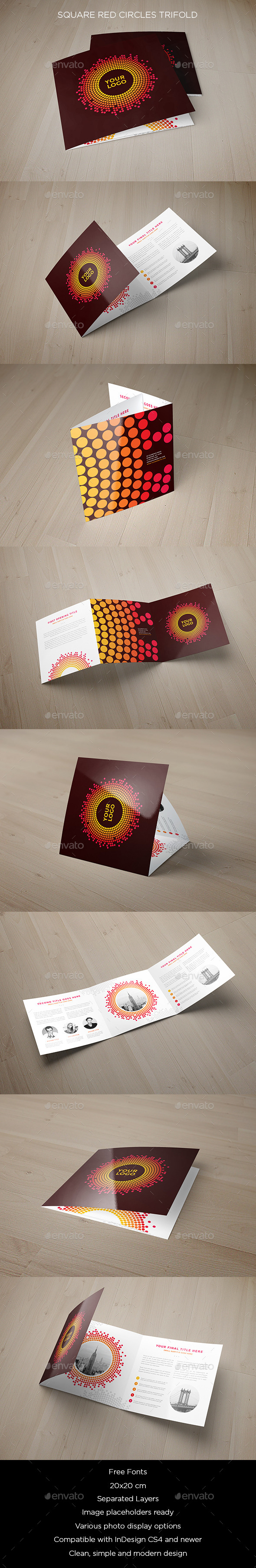 Square Red Circles Trifold - Brochures Print Templates
