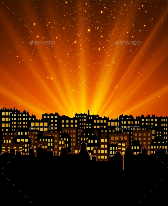 Night City with Sunset - Buildings Objects