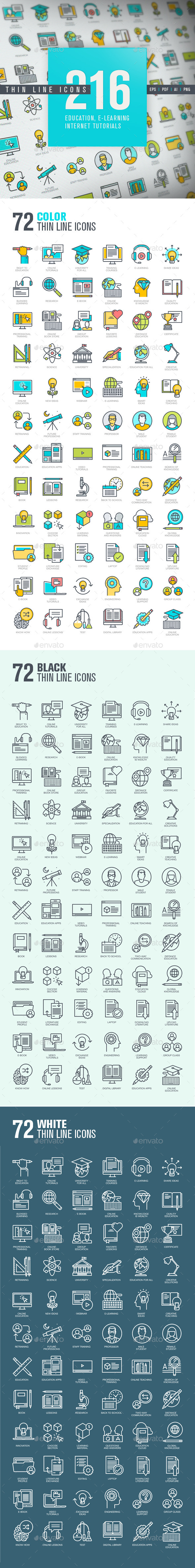 Set of Thin Line Icons for Online Education - Icons