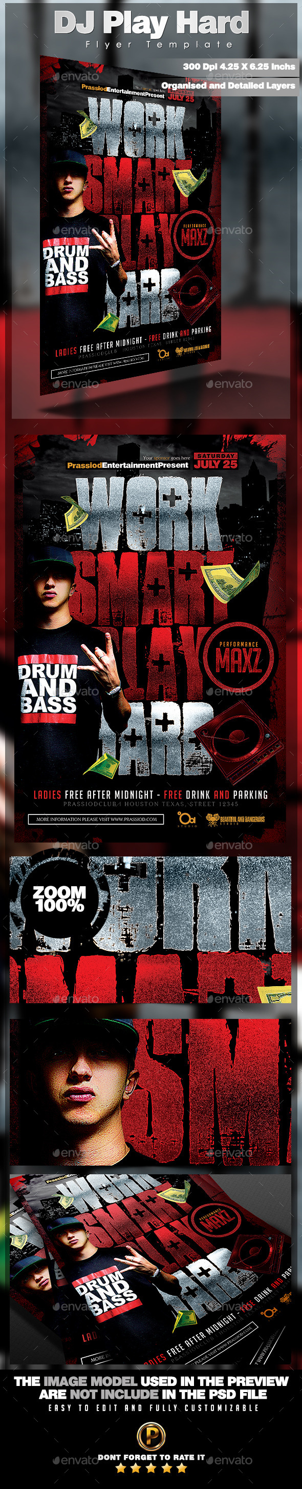 DJ Play Hard Flyer Template - Clubs & Parties Events