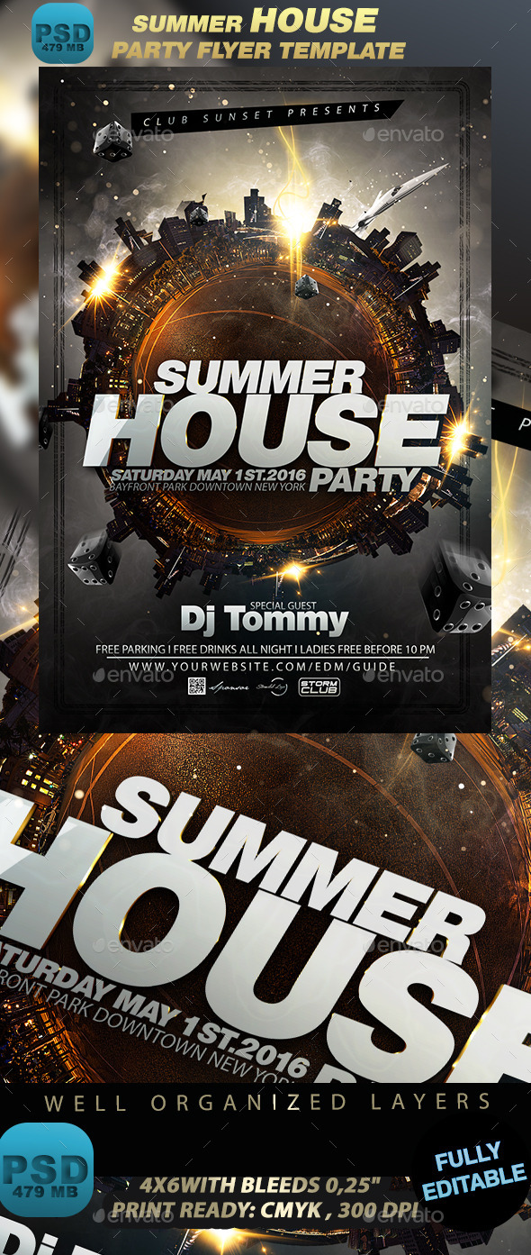 Summer House Party Flyer Template - Events Flyers