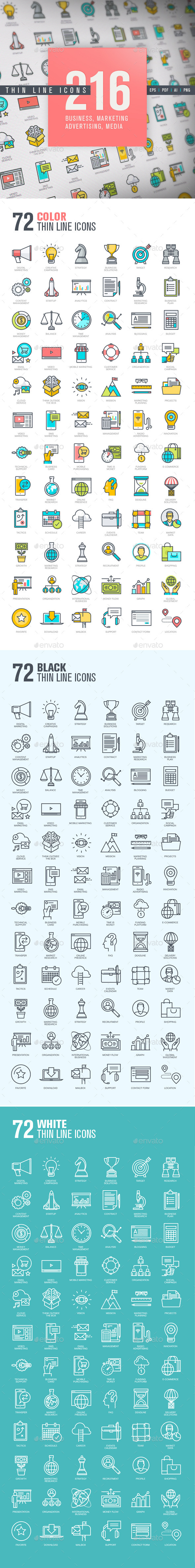 Set of Thin Line Icons for Business and Marketing - Business Icons