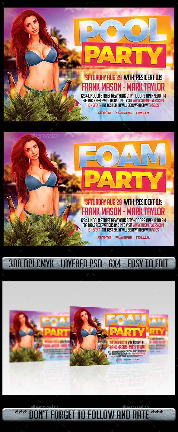 Pool Foam Party Flyer - Flyers Print Templates
