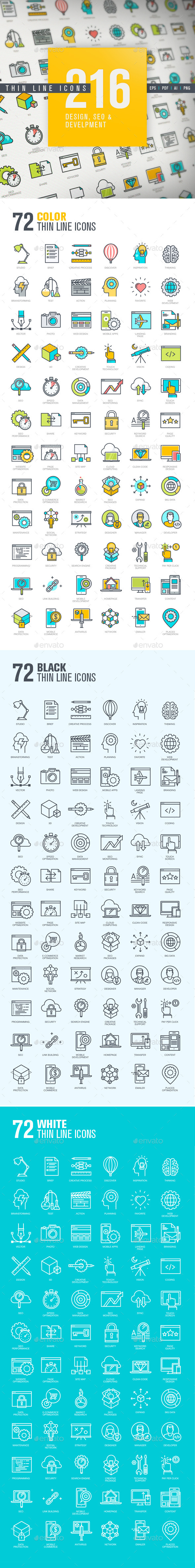 Thin Line Icons for Design, SEO and Development - Technology Icons