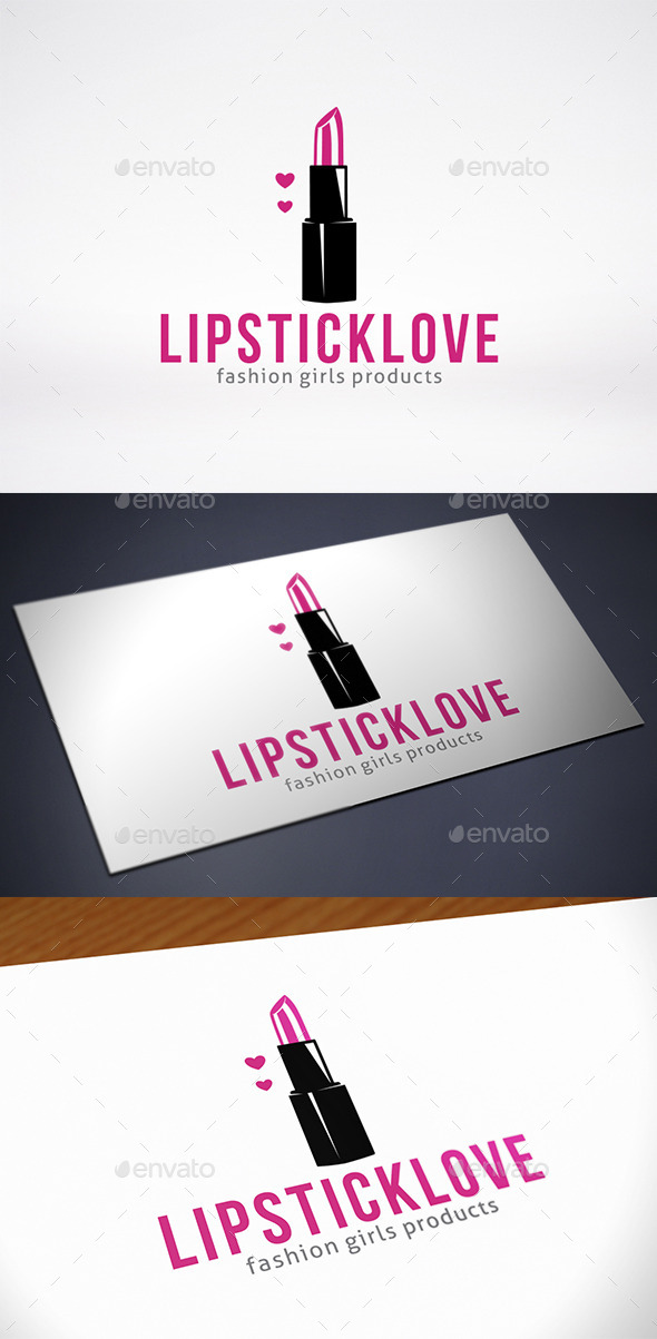 Lipstick Love Logo Template - Objects Logo Templates