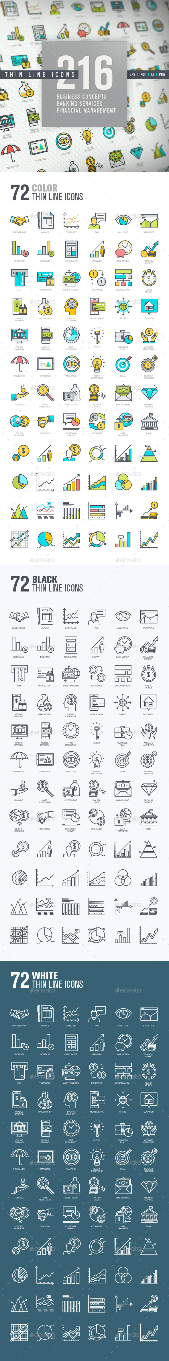 Set of Thin Line Icons for Finance - Business Icons