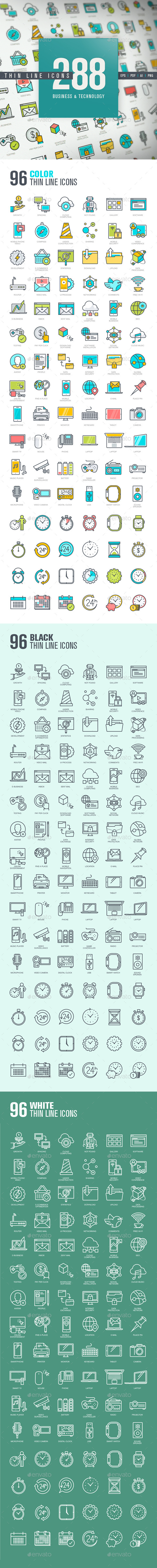 Set of Thin Line Icons for Business and Technology - Technology Icons