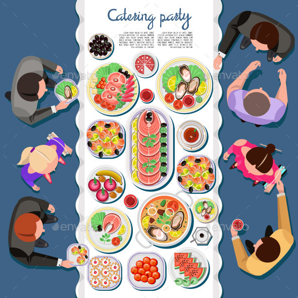 Catering Party with People and a Table of Dishes - Food Objects