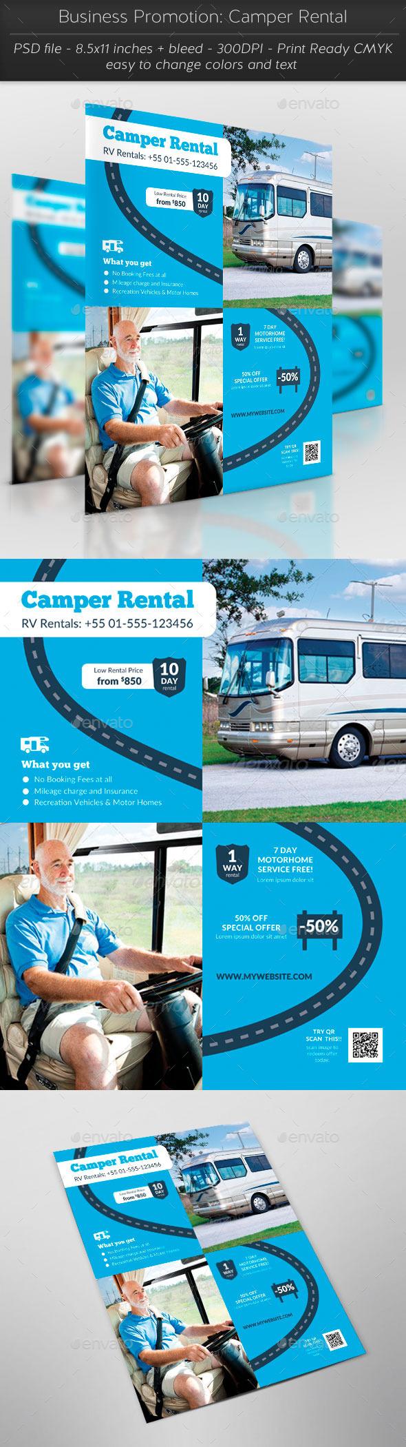 Business Promotion: Camper Rental - Flyers Print Templates