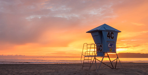Sunset over Coronado Lifeguard Shack