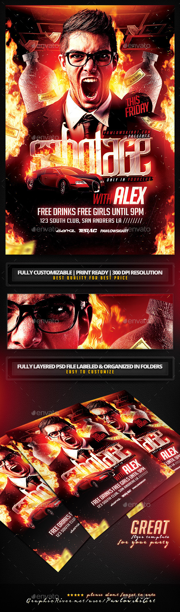 Sabotage Party Flyer PSD Template - Clubs & Parties Events
