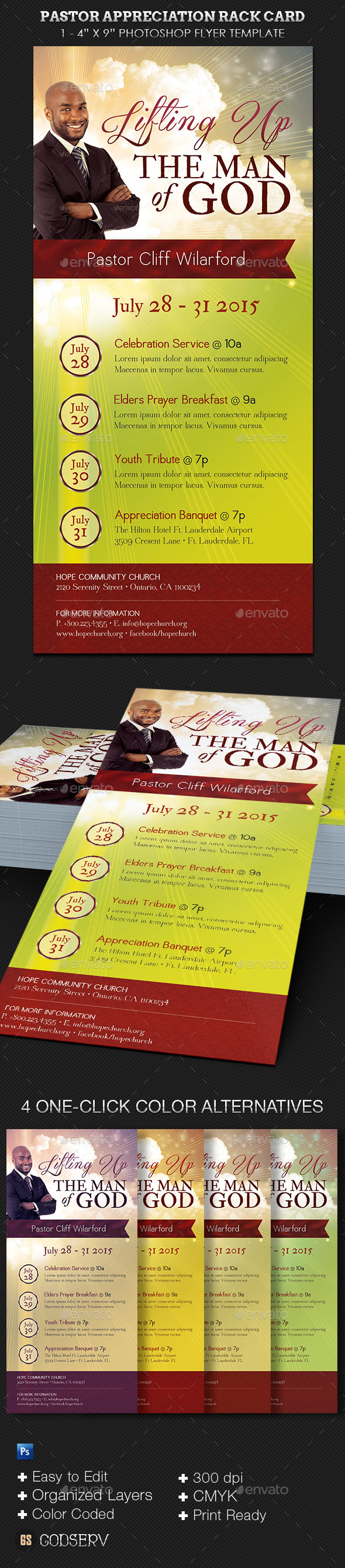 Pastor Appreciation Rack Card Template - Church Flyers