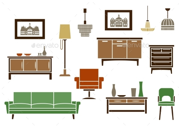 Household Furniture and Interior Flat Icons - Man-made Objects Objects