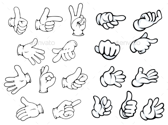Cartoon Hand Gestures and Pointers - People Characters