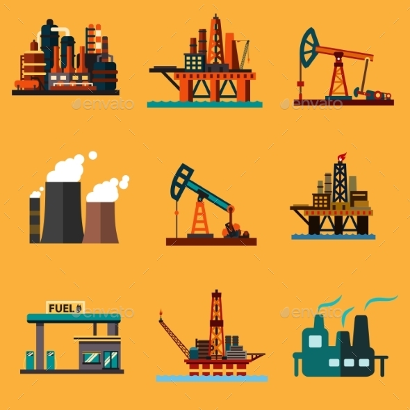 Oil Extraction, Refinery and Retail Flat Icons - Buildings Objects