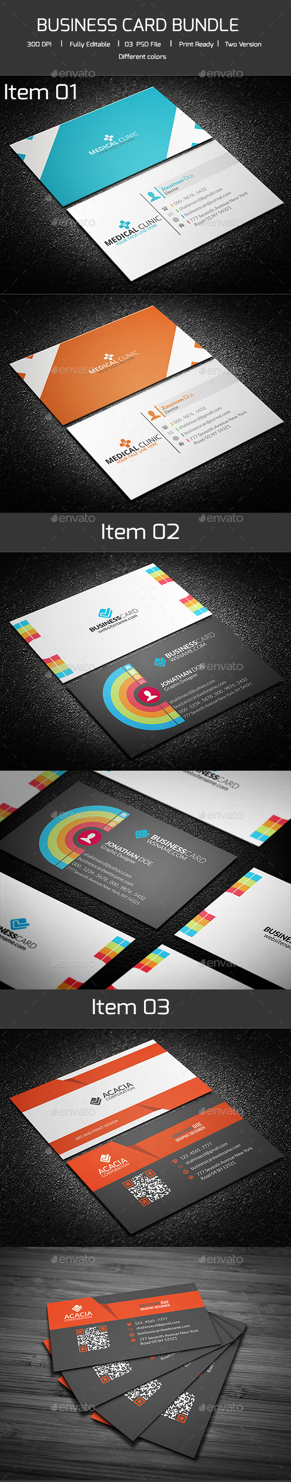 Bundle-02 Business Card (3 in 1) - Corporate Business Cards