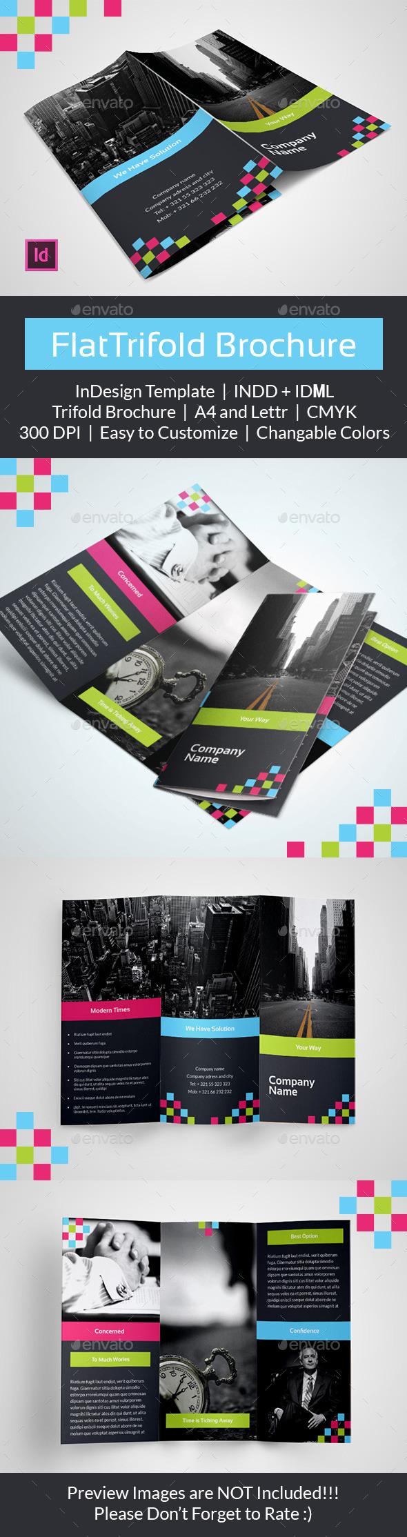 Flat Tri Fold Brochure Template - Brochures Print Templates