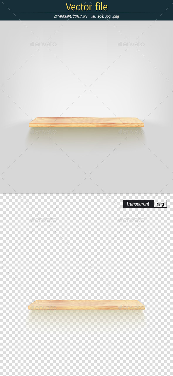 Wooden Shelf on White Background - Man-made Objects Objects