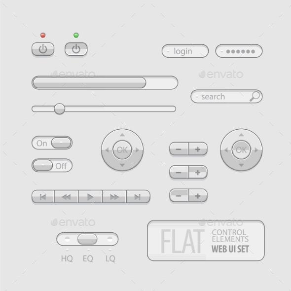 Flat Web UI Elements Design Gray - Web Elements Vectors