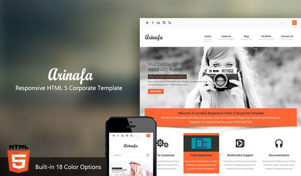 ArinaFA Responsive HTML 5 Corporate Template - Corporate Site Templates