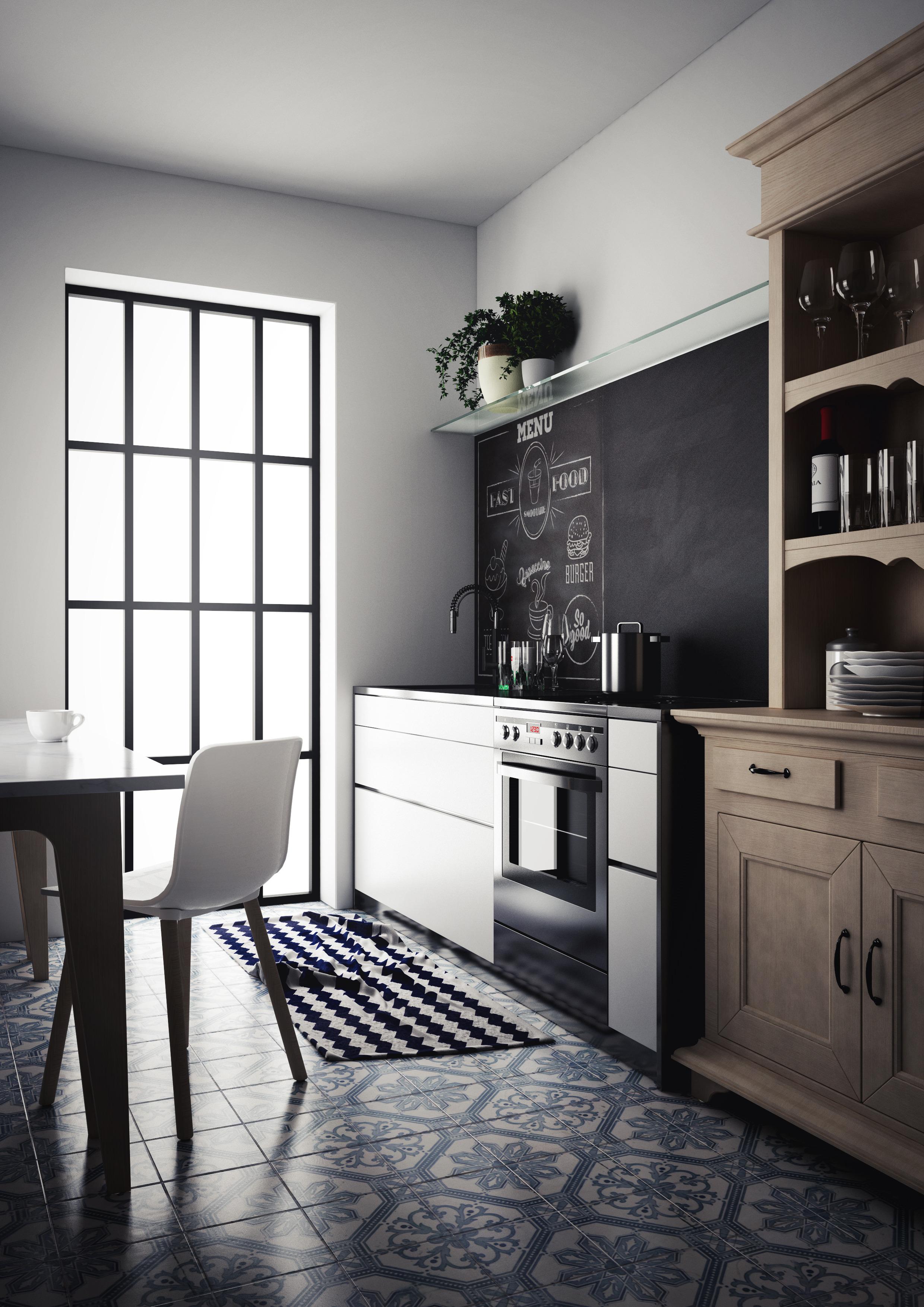 Vintage kitchen scene setup c4d + vray