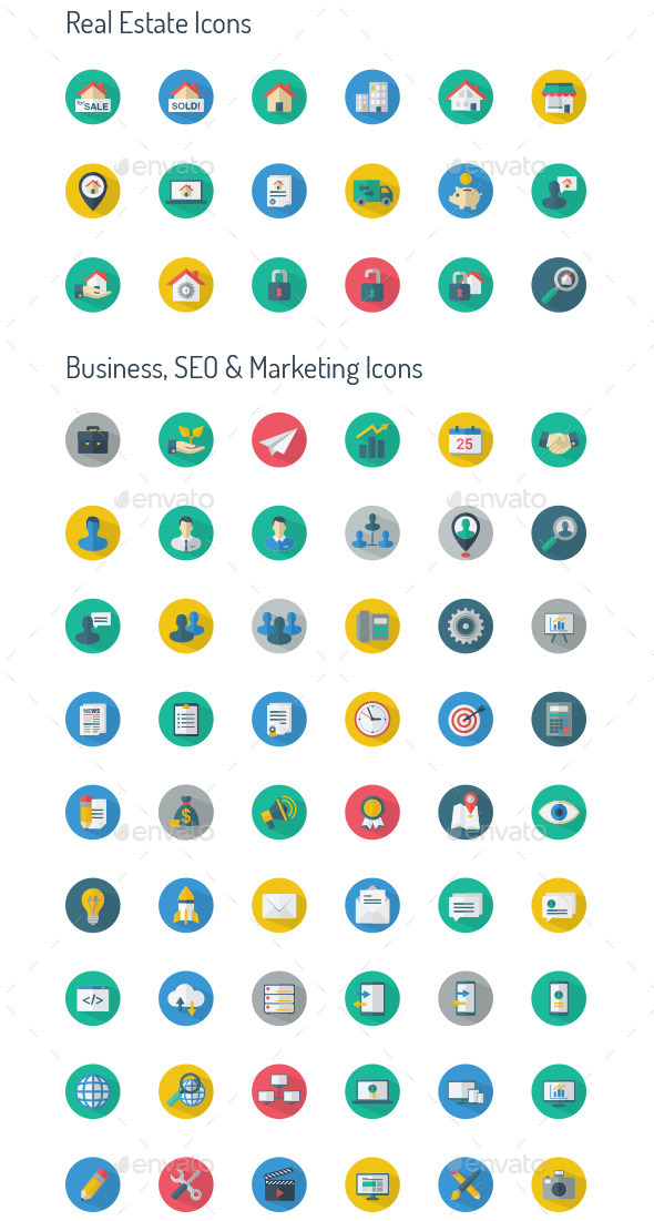 Long Shadow Icon set- Real Estate & Business, SEO, - Icons