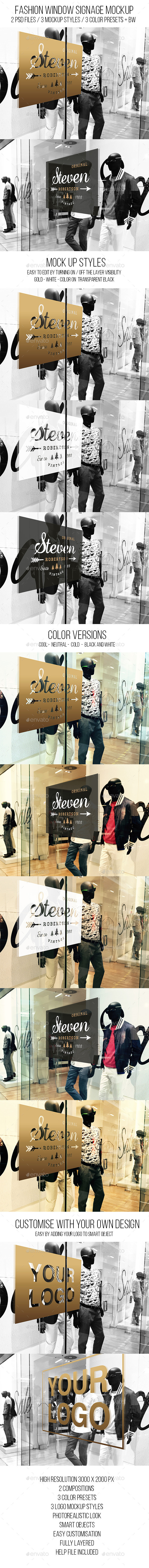 Fashion Window Signage Mockup - Logo Product Mock-Ups