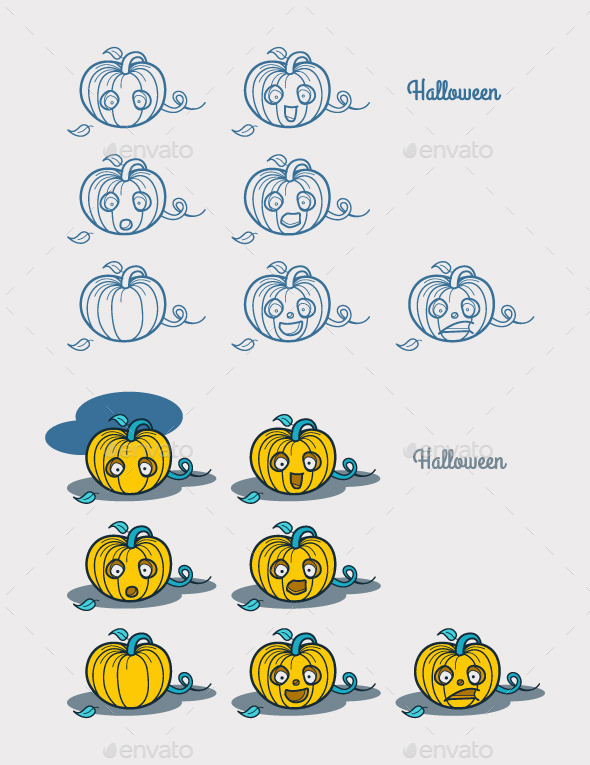Halloween Pumpkin Emotions  - Halloween Seasons/Holidays