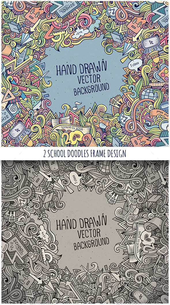 2 School Doodles Frames - Backgrounds Decorative