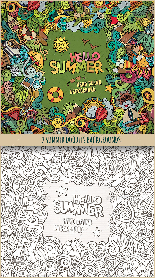 2 Summer Doodles Frames - Seasons Nature