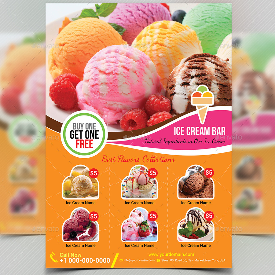 Ice Cream Shop Flyer Template by aam360 | GraphicRiver