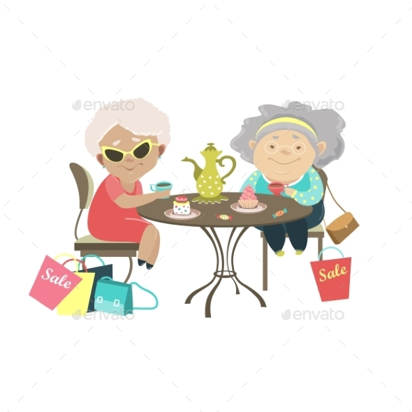 Two Old Women Talking in a Cafe after Shopping - People Characters