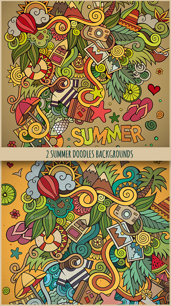 2 Doodles Summer Design Backgrounds - Seasons Nature