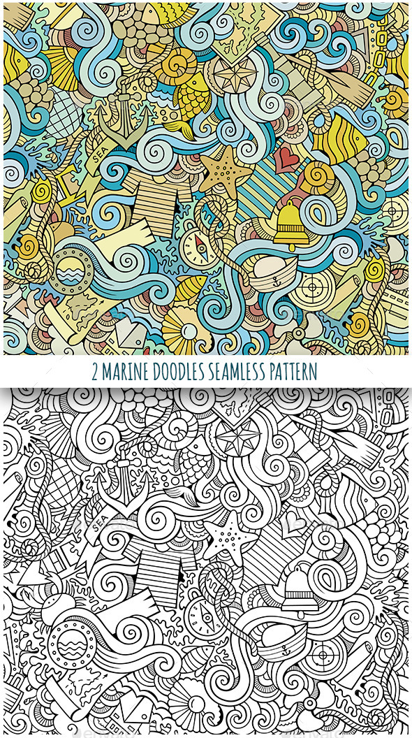 2 Nautical Doodles Seamless Patterns - Backgrounds Decorative