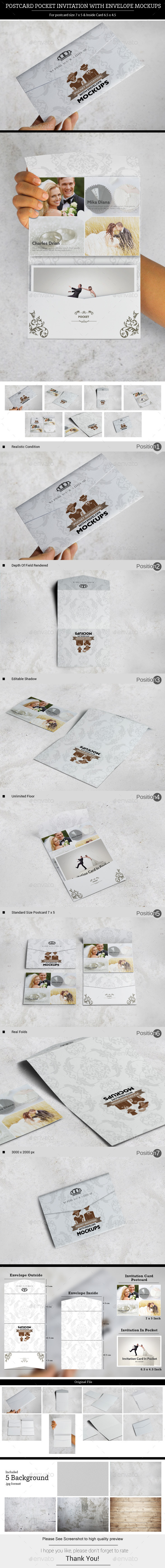 Postcard Pocket Invitation With Envelope Mockups - Miscellaneous Print