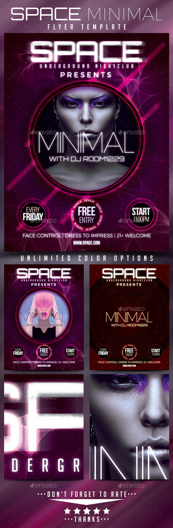 Space Minimal Flyer Template - Clubs & Parties Events