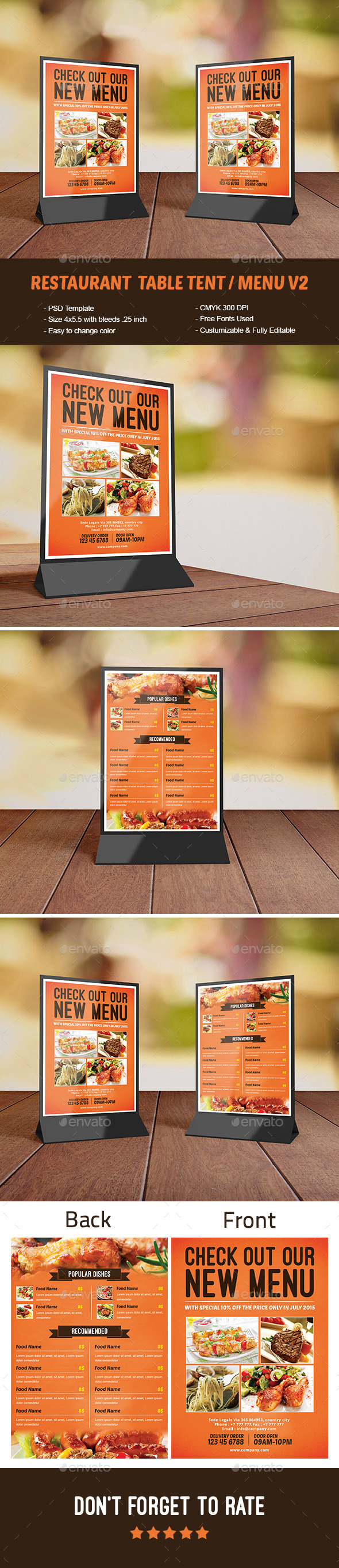 Restaurant Table Tent / Menu V2 - Food Menus Print Templates