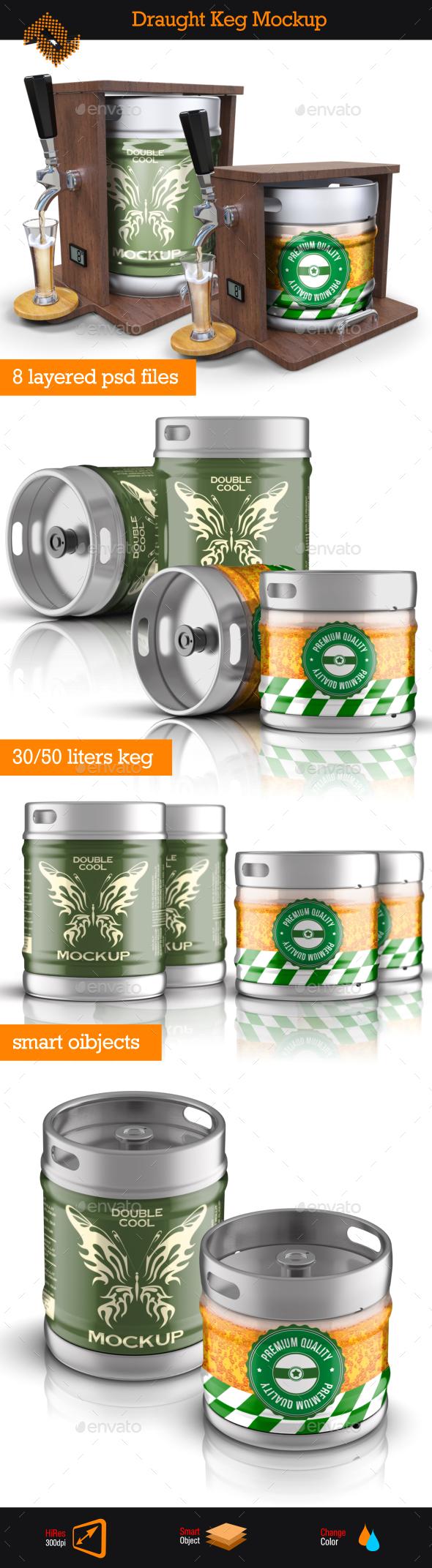 Draught Keg / Beer Package Mockup - Food and Drink Packaging