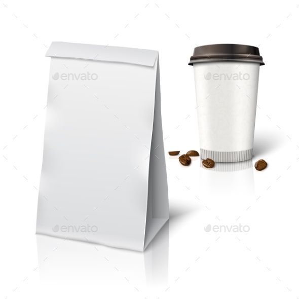 Paper Packaging Bag and Coffee - Man-made Objects Objects