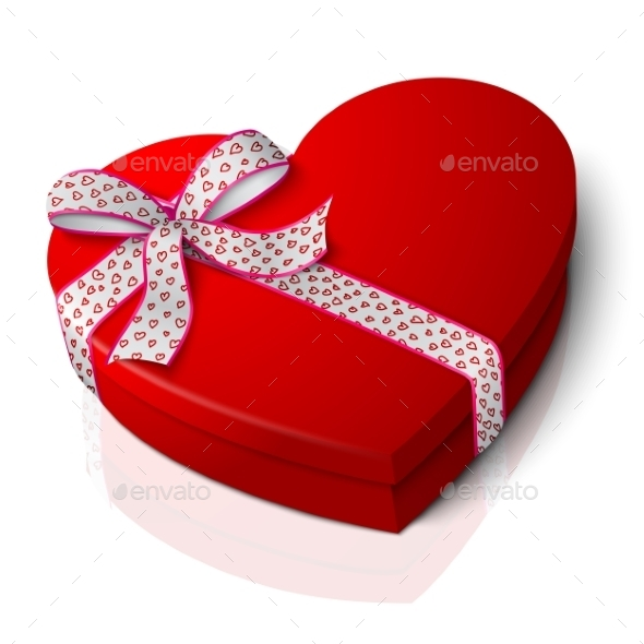 Red Heart Shape Box - Man-made Objects Objects