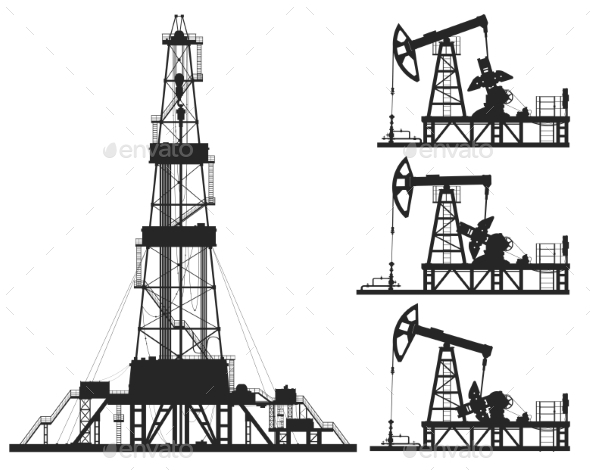 Set of Oil Pumps and Rig Silhouettes - Man-made Objects Objects