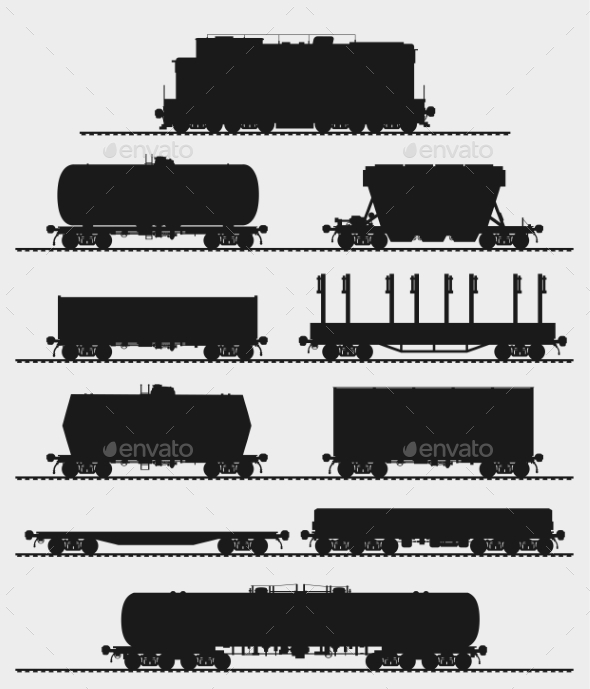Set of Train With Freight Wagons - Man-made Objects Objects